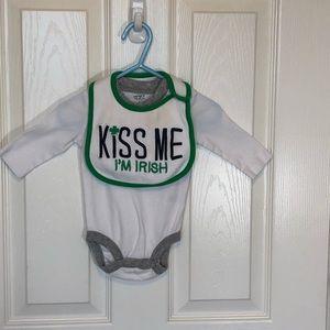 Carters 3 Months Kiss Me Im Irish Onesie & Bib